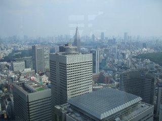 東京都庁展望室から。中央手前がKDDI本社ビル、奥がNTTドコモ本社ビル