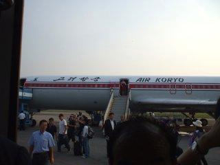 エアコリョ機。平壌順安国際空港にて