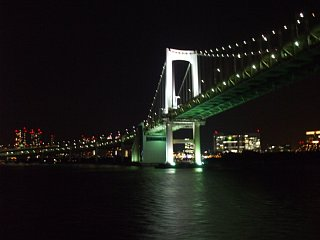夜のレインボーブリッジの下を通過