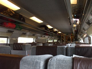 ユーロスター車内。2等客車