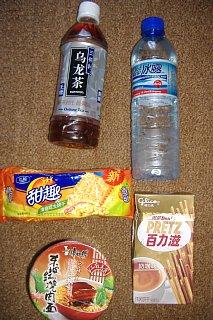 中国で買った飲料、食料